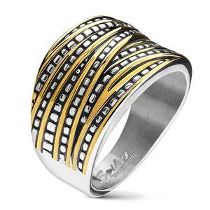 Ocelový prstýnek stříbrné barvy - asymetrické pásy ve stříbrno-zlatém odstínu, zužující se - Velikost: 52
