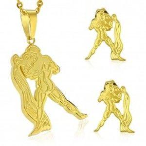 Ocelový set zlaté barvy - přívěsek a puzetové náušnice, znamení VODNÁŘ AA10.31