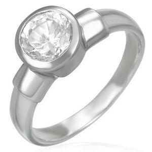 Ocelový snubní prsten s velikým zirkonovým očkem v kovové objímce - Velikost: 49
