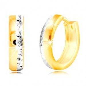 Kruhové náušnice ve 14K zlatě - broušená hrana s vrstvou bílého zlata GG219.25