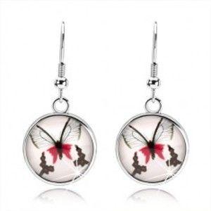 Kruhové náušnice ve stylu kabošon, čiré sklo, červenočerný motýl, afro háčky SP72.14