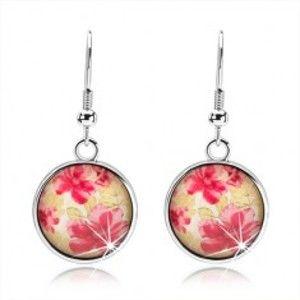 Kruhové náušnice ve stylu kabošon, vypouklé sklo, červené květy, zelené listy SP73.01