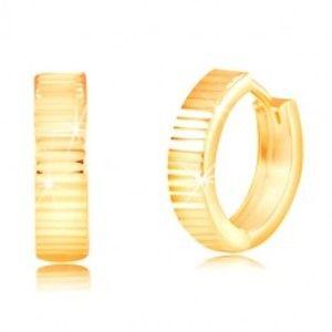 Kruhové náušnice ze žlutého 14K zlata - blýskavé vodorovné zářezy GG217.43