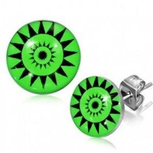 Kulaté puzetky z oceli - symbol slunce, zelené pozadí AA36.10