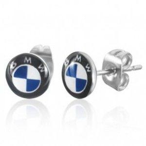 Kruhové puzetové náušnice z oceli - světlemodré logo automobilky Q1.4