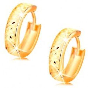 Kruhové zlaté náušnice 14K s broušeným blýskavým povrchem, vysoký lesk GG15.32