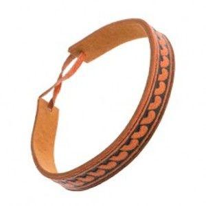 Oranžovohnědý kožený náramek, úzký pásek s půlobloukovým vzorem SP50.15
