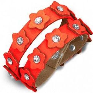 Oranžový kožený náramek - pás s květinkami a zirkony AB21.02