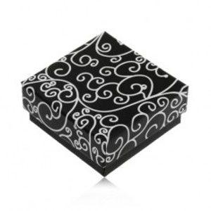 Papírová černá krabička na náušnice nebo přívěsek, bílé spirálovité ornamenty U31.16