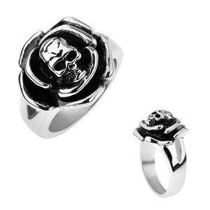 Patinovaný ocelový prsten, růže s lebkou uprostřed, rozdvojená ramena - Velikost: 63