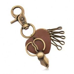 Patinovaný přívěsek na klíče, mosazný odstín, nůžky a hnědé srdíčko Z36.9