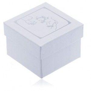 Perleťová krabička na náušnice - stříbrný motiv křtu TY5