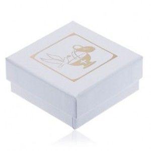 Perleťově bílá krabička na náušnice, zlatý džbán, kalich a holubice Y4.13