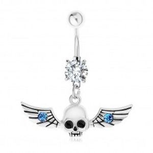 Piercing do bříška, ocel 316L, lebka s křídly, modré zirkonky SP82.30