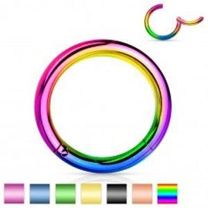 Piercing do nosu a ucha, ocel 316L, jednoduchý lesklý kroužek, různé barvy AC21.20/21/22/W20.34/35/36