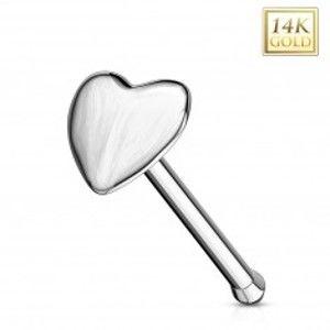 Piercing do nosu v bílém 14K zlatě - rovný tvar, vypouklé srdíčko GG220.03