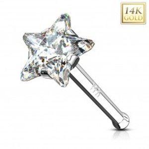 Piercing do nosu v bílém zlatě 585 - čirá zirkonová hvězda, rovný tvar GG221.15