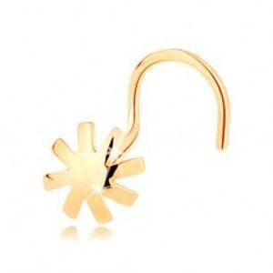 Piercing do nosu ve žlutém 14K zlatě - vypouklý kvítek, lesklý hladký povrch GG143.07