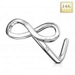 Piercing do nosu z bílého 14K zlata - lesklý symbol nekonečna GG220.09