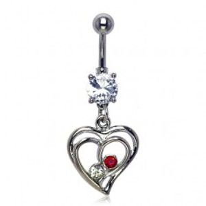 Piercing do pupíku - dva zirkony v zamilovaném srdci I18.07