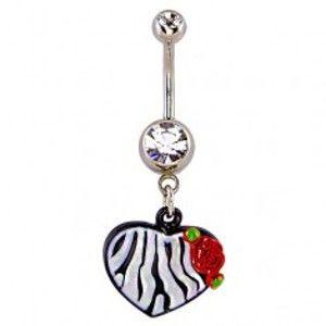 Piercing do pupíku - srdce,  vzor černobílá zebra a růže Y6.7