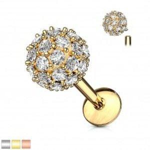 Piercing do ucha, brady nebo rtu z chirurgické oceli - zirkonová kulička W19.30/35