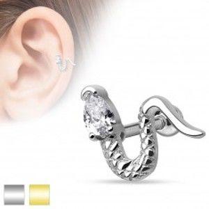 Piercing do ucha z chirurgické oceli - zvlněný had s trojúhelníkovým zirkonem W17.27/28