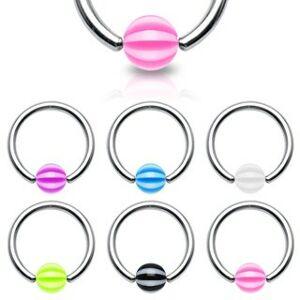 Piercing - kroužek s páskovanou kuličkou - Rozměr: 1,6 mm x 12 mm x 5x5 mm, Barva piercing: Zelená