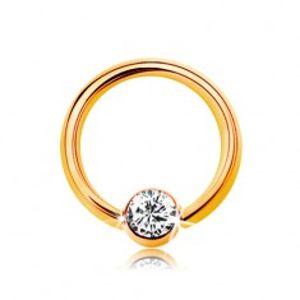 Piercing ve žlutém 14K zlatě - malý kroužek s kuličkou a čirým zirkonem, 6 mm GG184.48