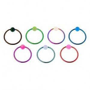 Piercing z chirurgické oceli, lesklý barevný kroužek, duhová kulička AC23.11/12/13