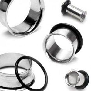 Piercing do ucha - tunnel z chirurgické oceli se zahnutým okrajem a gumičkou C11.11