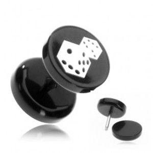 Plug do ucha z akrylu - hrací kostky na černém kolečku PC33.07