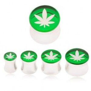 Plug do ucha z oceli 316L, list marihuany na zeleném podkladu SP04.06/12