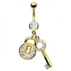 Piercing do pupíku zlaté barvy - klíč a zirkonový zámeček F13.5