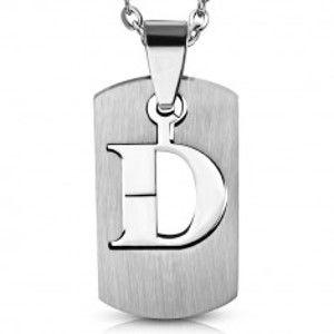 """Přívěsek z chirurgické oceli, známka, lesklé písmeno """"D"""" AA42.17"""