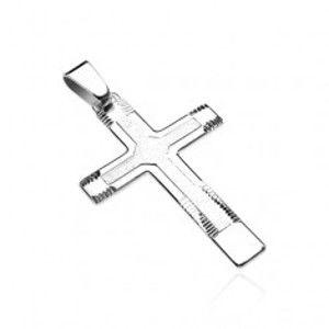Přívěsek ze stříbra 925 - mohutný kříž se strukturou a zářezy U12.6