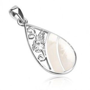 Přívěsek ze stříbra 925, kapka zdobená perletí a vyřezávanou růží SP62.14