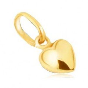 Přívěsek ze žlutého 9K zlata, třpytivé prostorové pravidelné srdce GG06.24