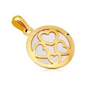 Přívěsek ze žlutého zlata 585 - kruh vyplněný bílou perletí, obrysy čtyř srdcí GG18.35