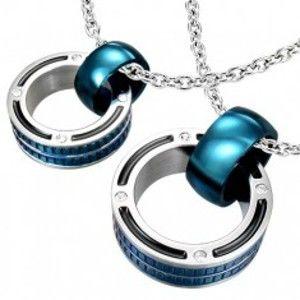 Přívěsky pro pár - mohutné prstence v modré barvě, zirkony R14.15