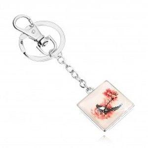 Přívěsek na klíče ve stylu kabošon, čtverec, vypouklé sklo, pták na stromě SP72.11