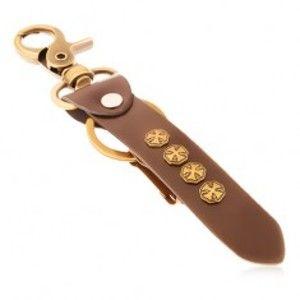 Přívěsek na klíče z oceli a syntetické tmavohnědé kůže, maltézské kříže Y35.18