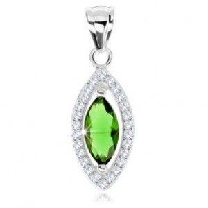 Přívěsek, stříbro 925, zirkonové zrnko zelené barvy, blyštivý lem SP78.04