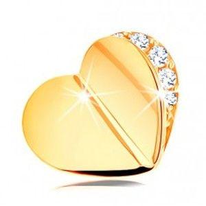Přívěsek ve žlutém 14K zlatě - lesklé zalomené srdíčko, čirý zirkonový obrys GG120.10