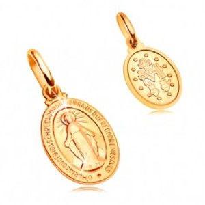 Přívěsek ve žlutém 14K zlatě - oválná známka se symboly Panny Marie GG204.09