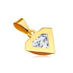 Přívěsek ve žlutém 14K zlatě - silueta diamantu, blýskavý čirý zirkon GG18.15