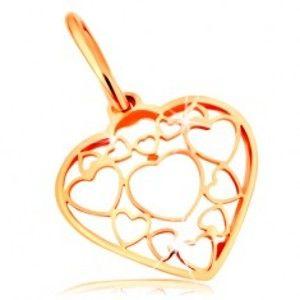 Přívěsek ve žlutém 14K zlatě - srdce zdobené obrysy menších a větších srdíček GG167.12