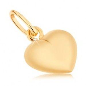 Přívěsek ve žlutém 9K zlatě - vypouklé srdce, zrcadlový lesk, oboustranný GG46.01