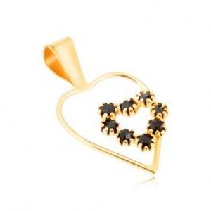 Přívěsek ve žlutém 9K zlatě, tenká linie kontury srdce, černé safírové srdce GG52.01