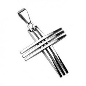 Přívěsek z chirurgické oceli - kříž z lesklých tenkých linií G2.11